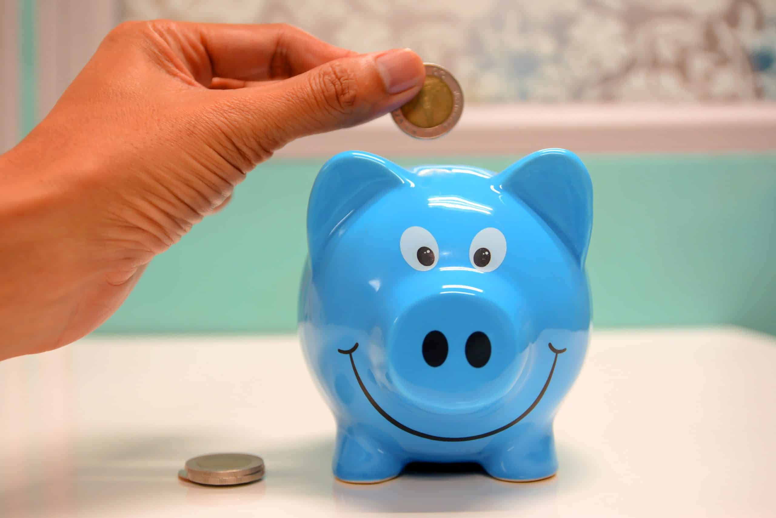 Putting money in the piggy bank