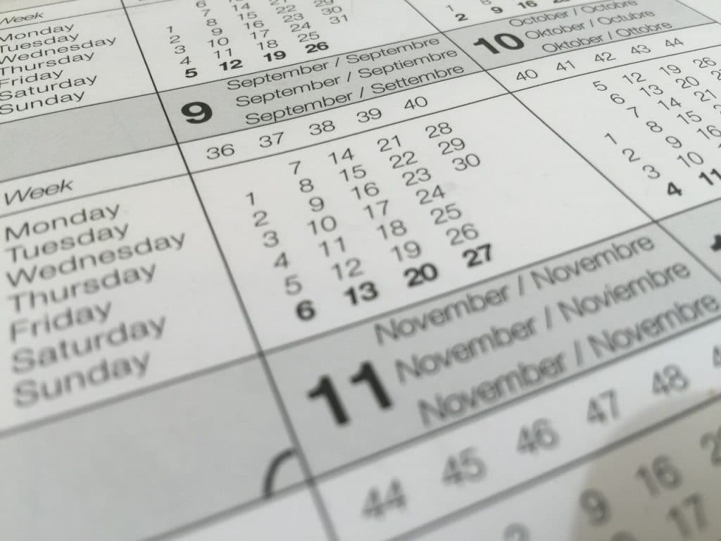 Calendar showing an out of date will
