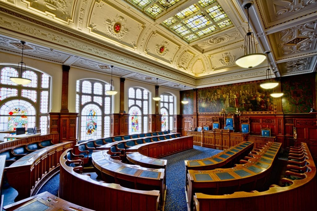 Court room where client will plead not guilty