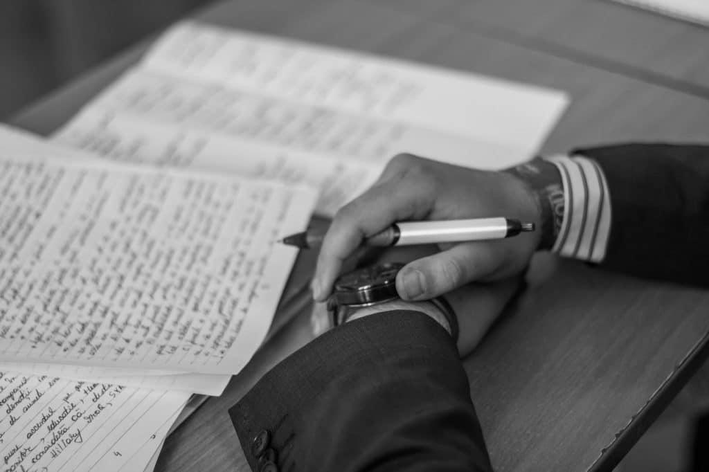 Gentleman writing a will himself