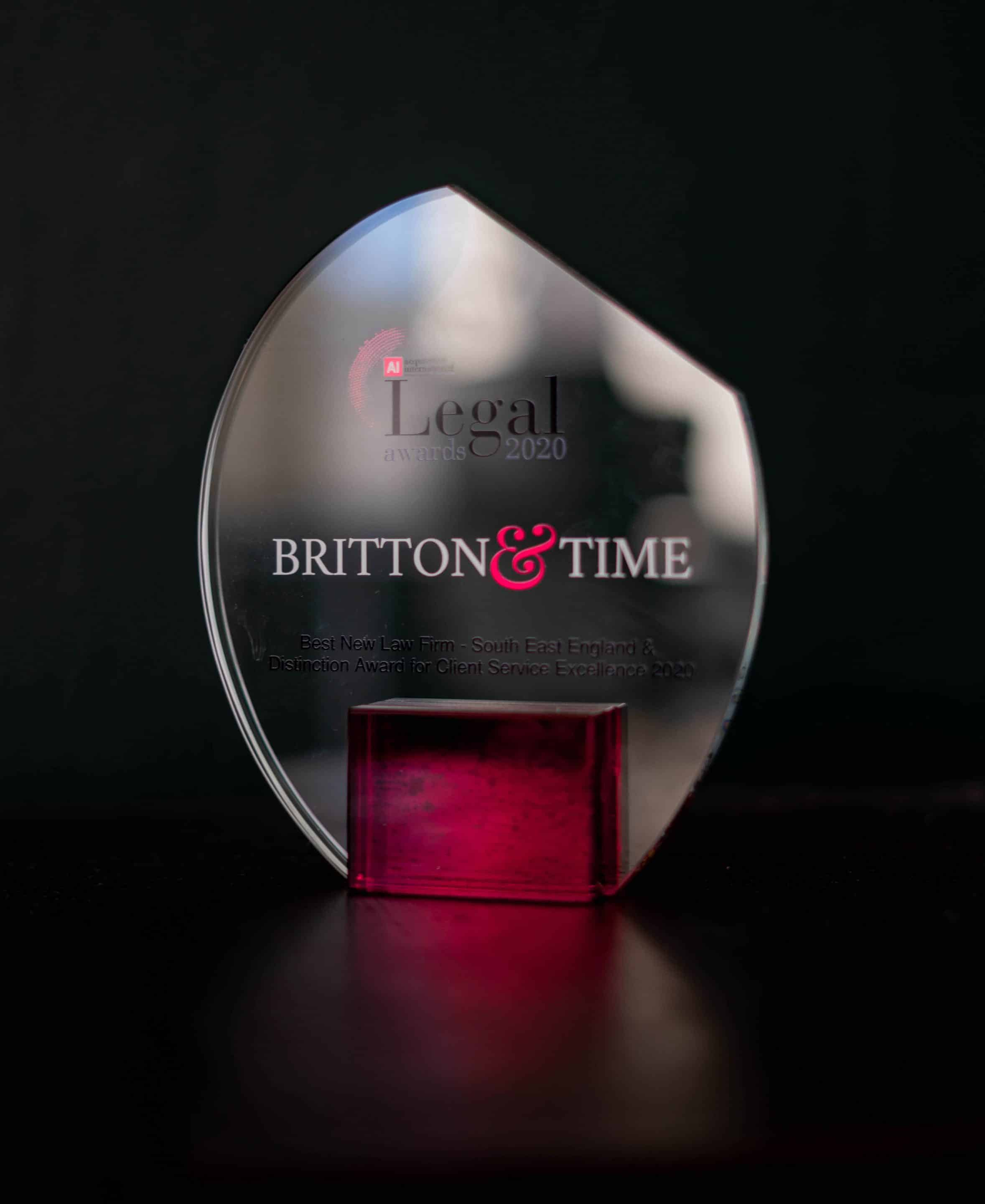Award won by Britton and Time solicitors in Brighton and Hove min